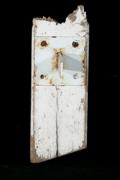 "Hoot Found wood and metal piece 10"" x 3 ½"" x 4"""