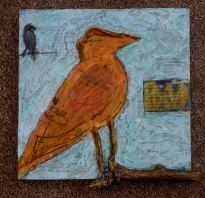 "Just Between us birds Mixed Media: Acrylics/mediums, image transfers, photos, sewing patterns, wire, metal staples, twig, ink on birch panel 12"" x 12"" x 1 ¾"" Cannon Beach Arts Association annual small art show"