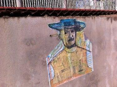 "Nicaragua man Acrylics/mediums, image transfer, charcoal, pencil on paper 36"" x 48"" Nicaragua Art Exchange, Rise Up International project, Condega, Nicaragua"