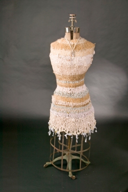 "Skin/bones Reconstructed shirts, fibers, metal piece, antique mannequin 60"" x 18"" x 18"""
