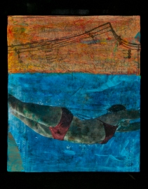 "Swimming lesson Acrylic/mediums, image transfers, photos, sewing pattern pieces, pencils, on wood 11 x 12 x 3 ½"" The Stolen Image, Atelier 6000"