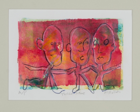 "Three some Monotype, pencil 7 ½"" x 5 ¾"" x ½"""