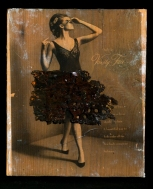 "Vanity Fair Acrylic/mediums, image transfer, metal piece on wood block 7 ¼"" x 8 ¾"" x 1 ½"""