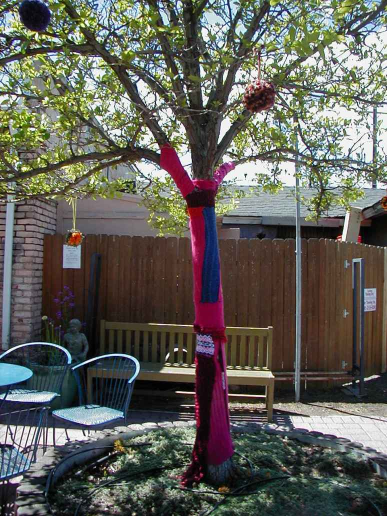 Pom Pom trees Yarn bomb at Workhouse High Fiber Arts Symposium